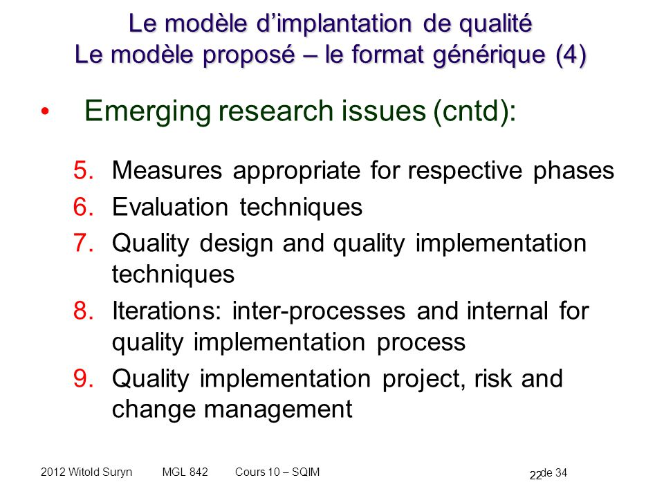 Emerging research issues (cntd):