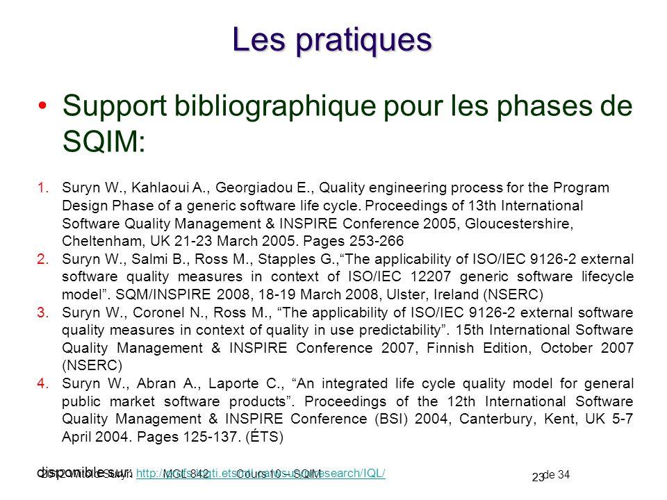 Les pratiques Support bibliographique pour les phases de SQIM: