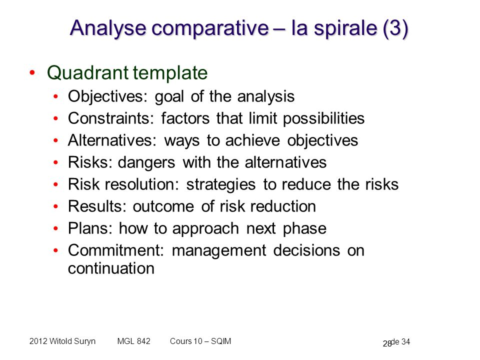 Analyse comparative – la spirale (3)