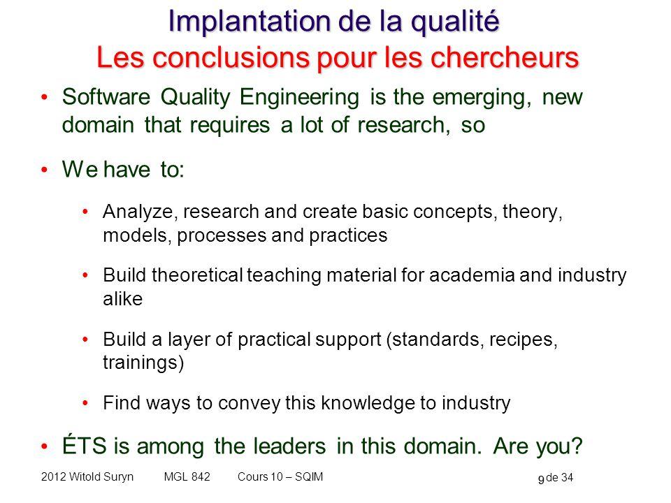Implantation de la qualité Les conclusions pour les chercheurs