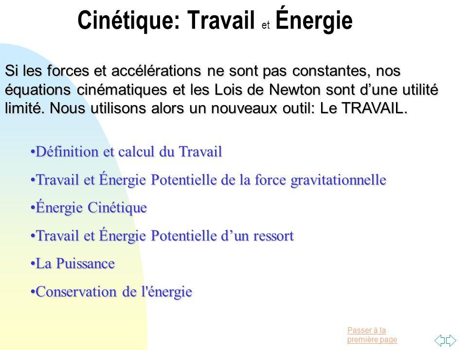 Cinétique: Travail et Énergie
