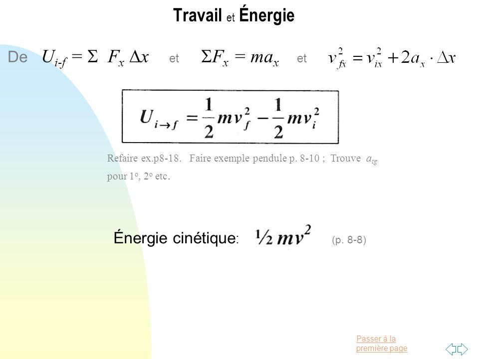 Travail et Énergie De Ui-f =  Fx x et Fx = max et