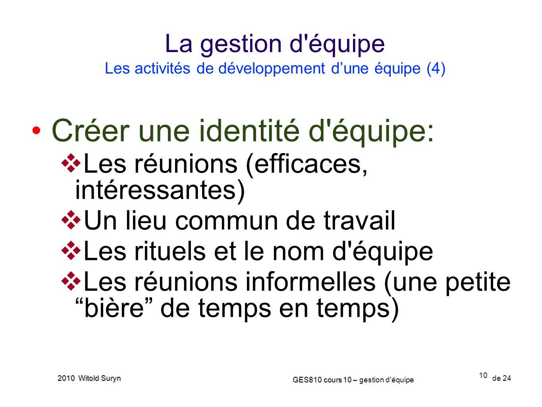 La gestion d équipe Les activités de développement d'une équipe (4)