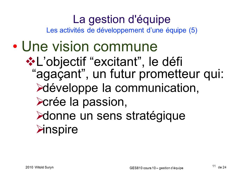 La gestion d équipe Les activités de développement d'une équipe (5)