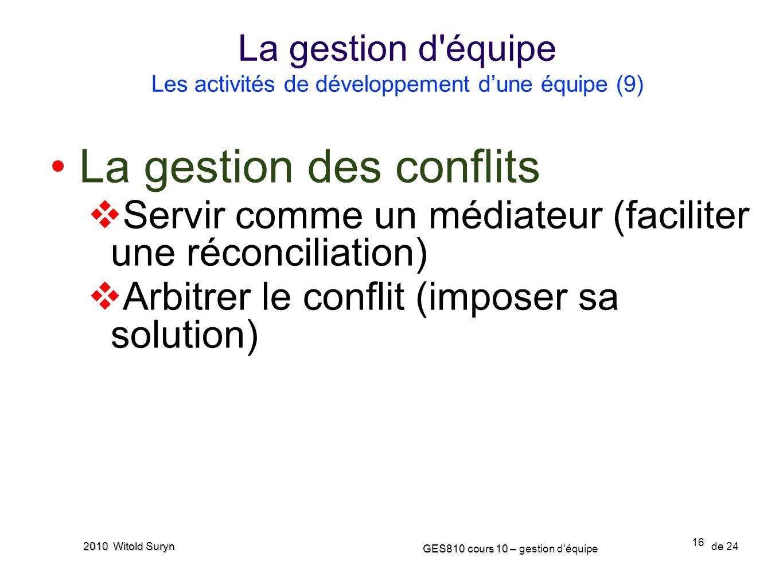 La gestion d équipe Les activités de développement d'une équipe (9)