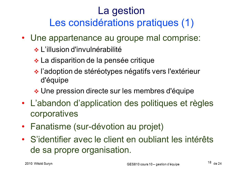 La gestion Les considérations pratiques (1)