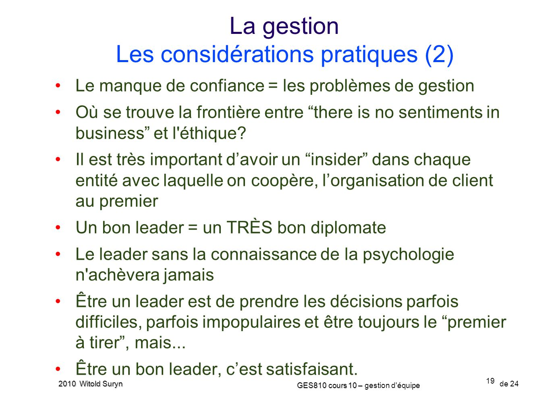 La gestion Les considérations pratiques (2)