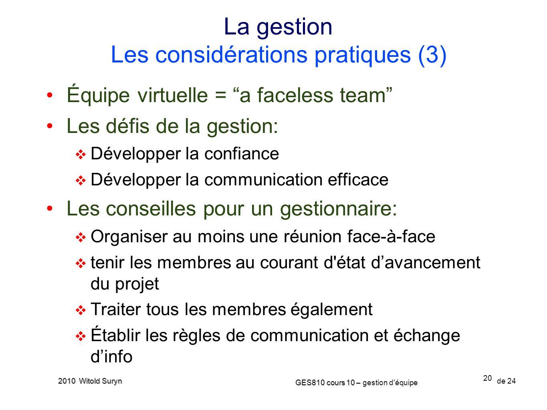 La gestion Les considérations pratiques (3)