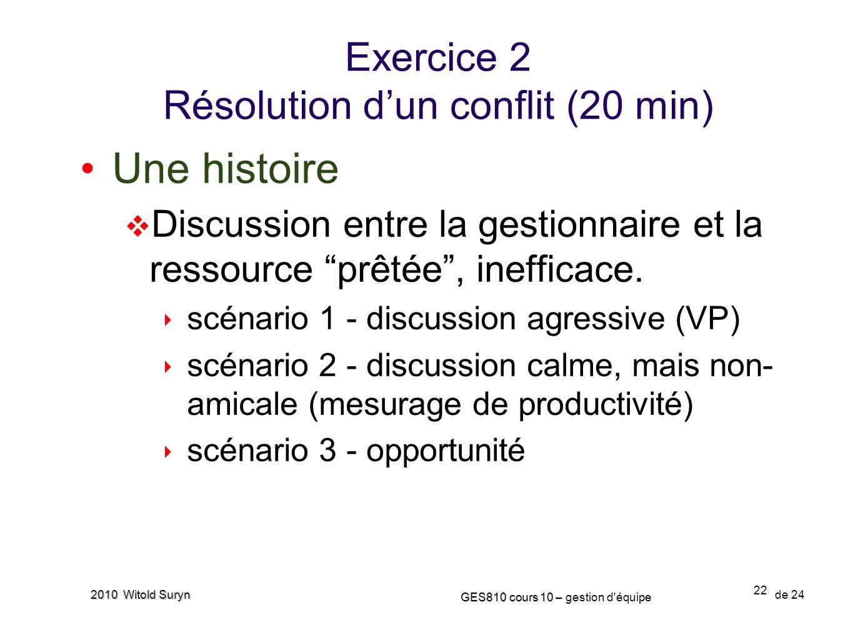 Exercice 2 Résolution d'un conflit (20 min)
