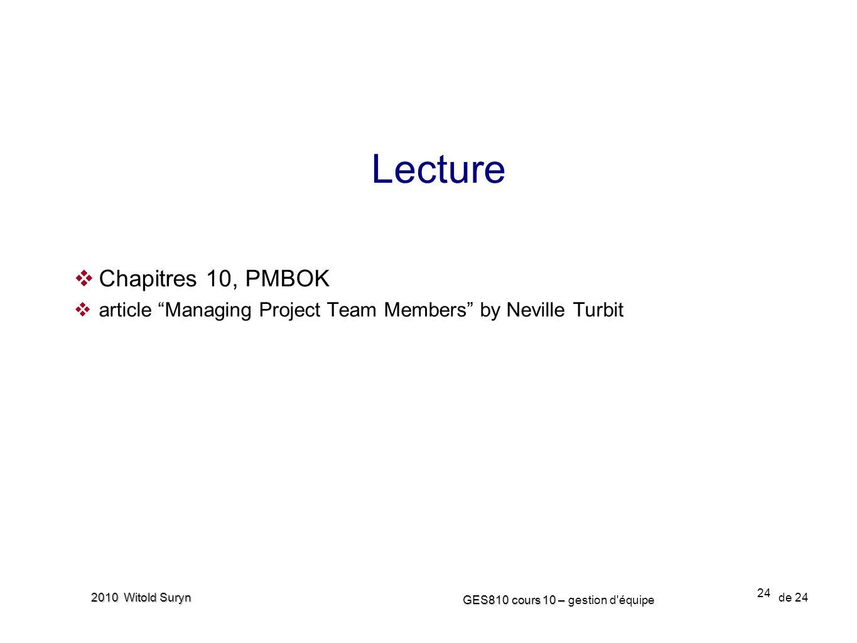 Lecture Chapitres 10, PMBOK