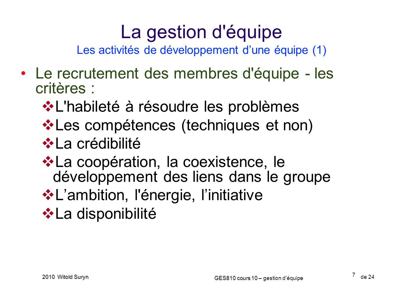 La gestion d équipe Les activités de développement d'une équipe (1)