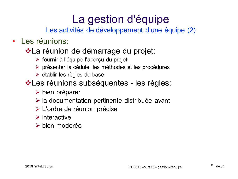La gestion d équipe Les activités de développement d'une équipe (2)