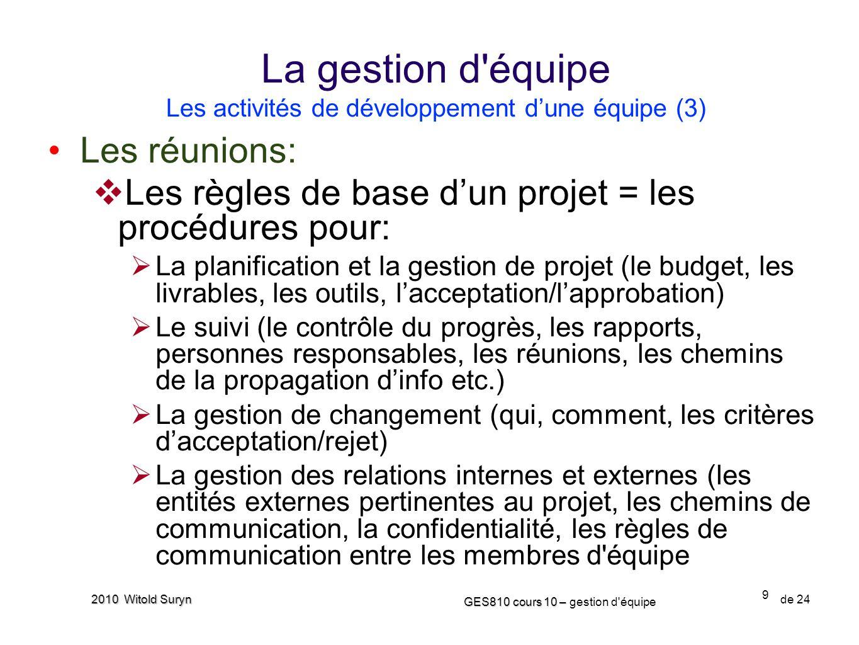La gestion d équipe Les activités de développement d'une équipe (3)