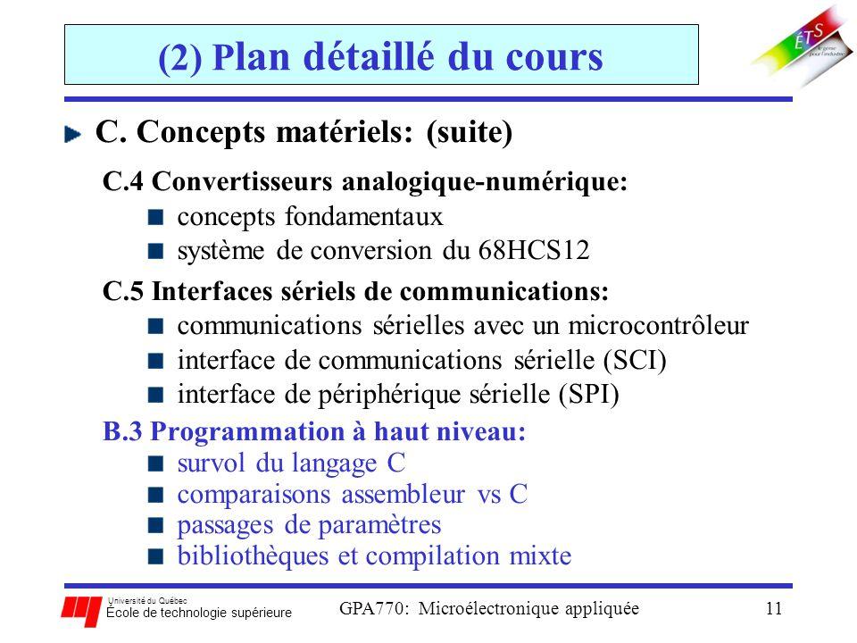 (2) Plan détaillé du cours
