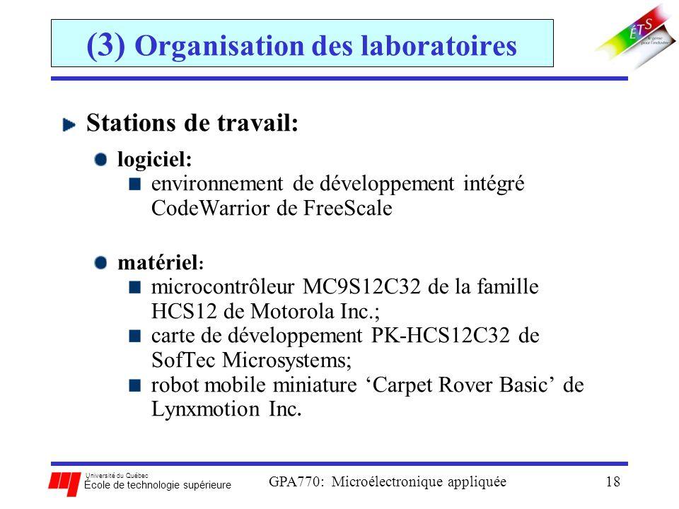 (3) Organisation des laboratoires