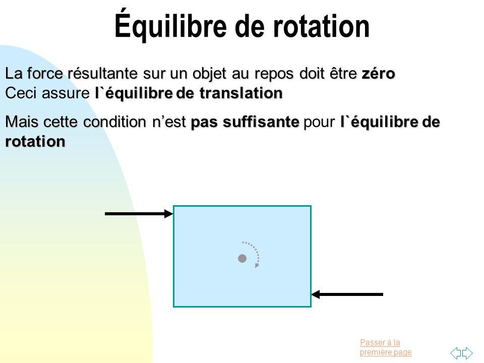 Équilibre de rotation La force résultante sur un objet au repos doit être zéro Ceci assure l`équilibre de translation.