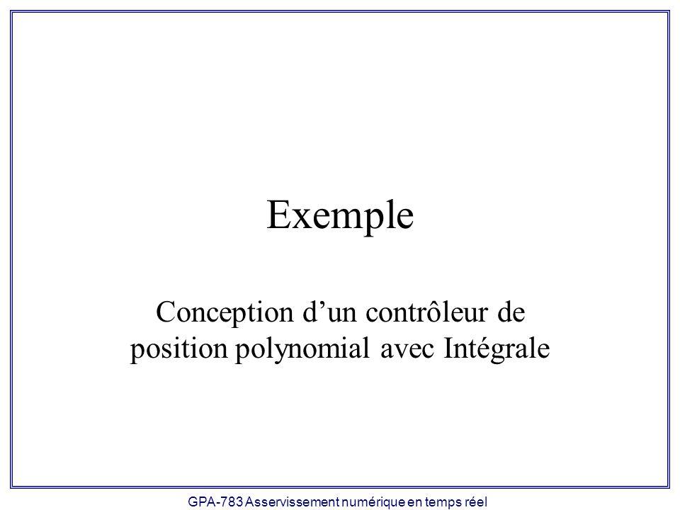 Conception d'un contrôleur de position polynomial avec Intégrale