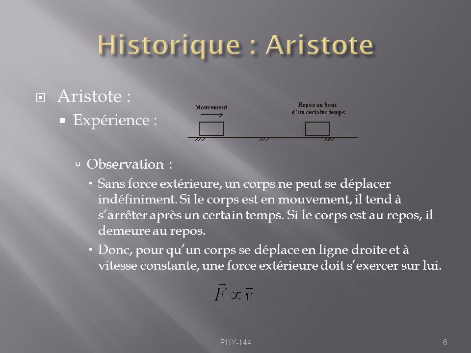 Historique : Aristote Aristote : Expérience : Observation :