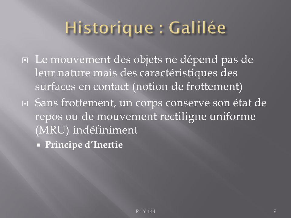 Historique : Galilée Le mouvement des objets ne dépend pas de leur nature mais des caractéristiques des surfaces en contact (notion de frottement)