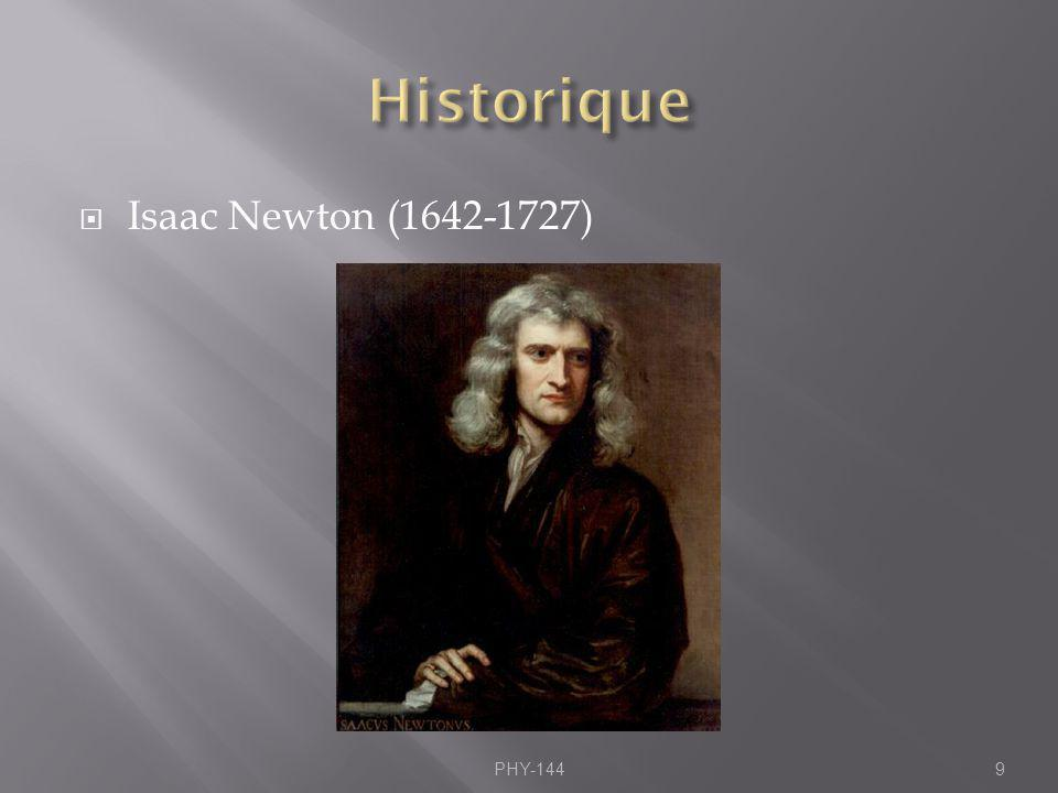 Historique Isaac Newton ( ) PHY-144