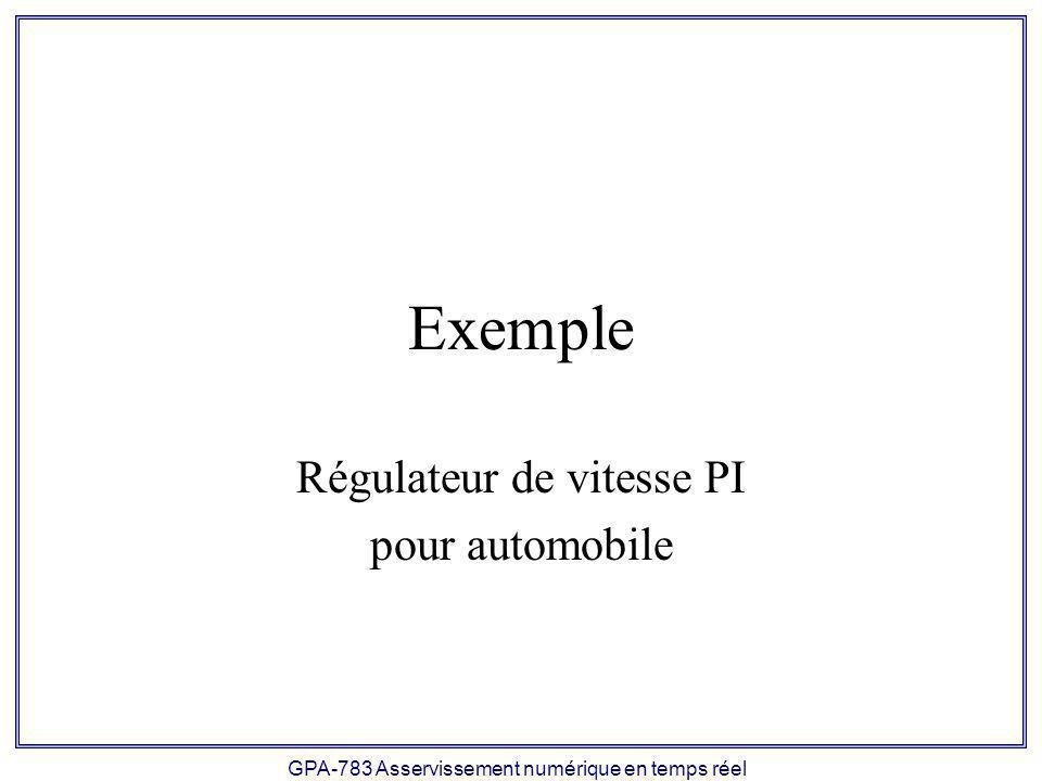 Régulateur de vitesse PI pour automobile