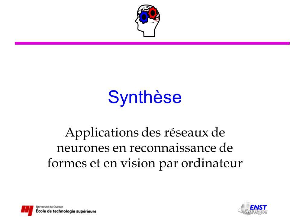 Synthèse Applications des réseaux de neurones en reconnaissance de formes et en vision par ordinateur.