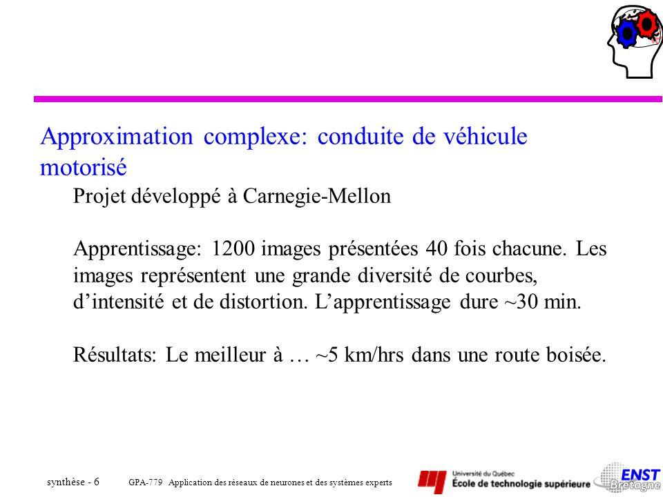 Approximation complexe: conduite de véhicule motorisé
