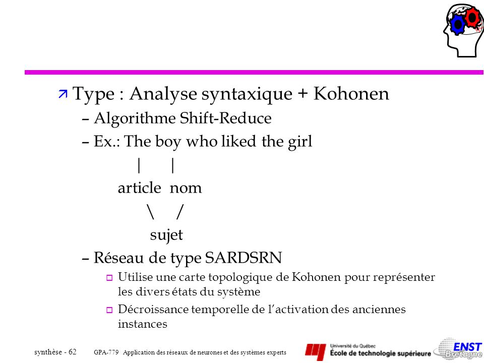 Type : Analyse syntaxique + Kohonen