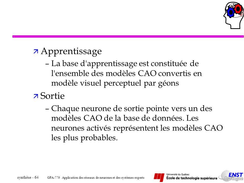 Apprentissage La base d apprentissage est constituée de l ensemble des modèles CAO convertis en modèle visuel perceptuel par géons.