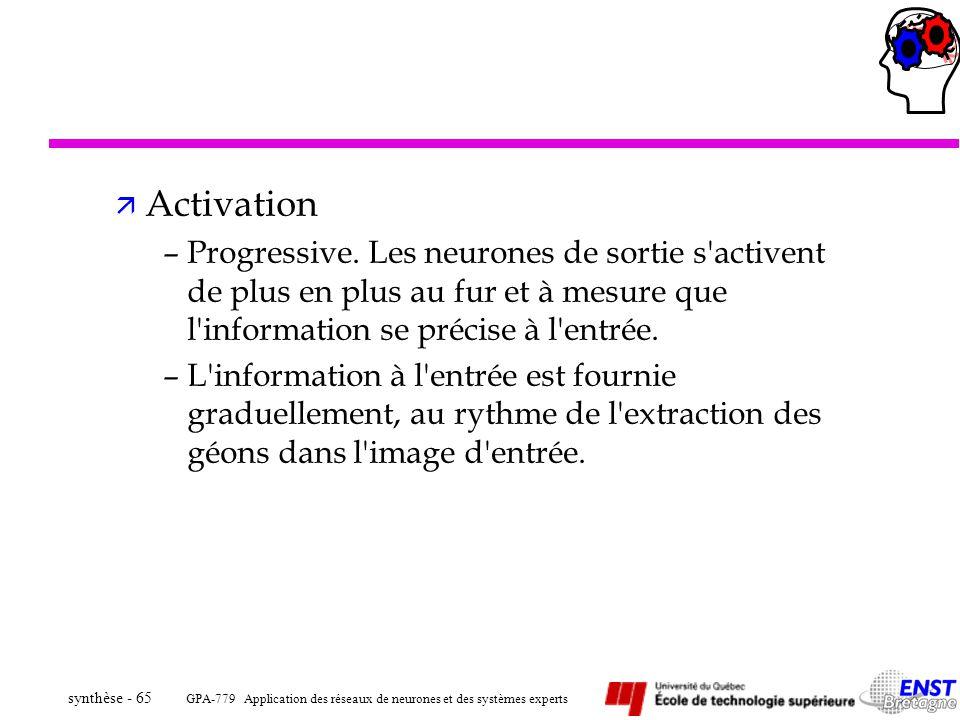 Activation Progressive. Les neurones de sortie s activent de plus en plus au fur et à mesure que l information se précise à l entrée.