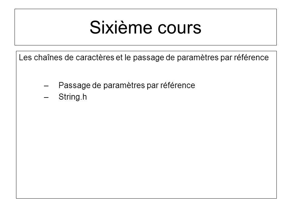 Sixième cours Les chaînes de caractères et le passage de paramètres par référence. Passage de paramètres par référence.