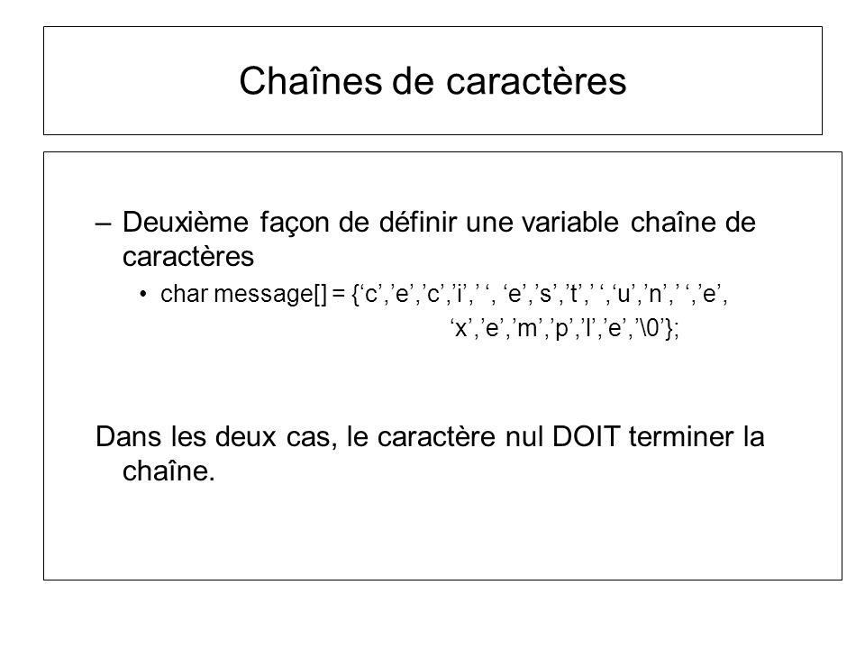 Chaînes de caractères Deuxième façon de définir une variable chaîne de caractères.
