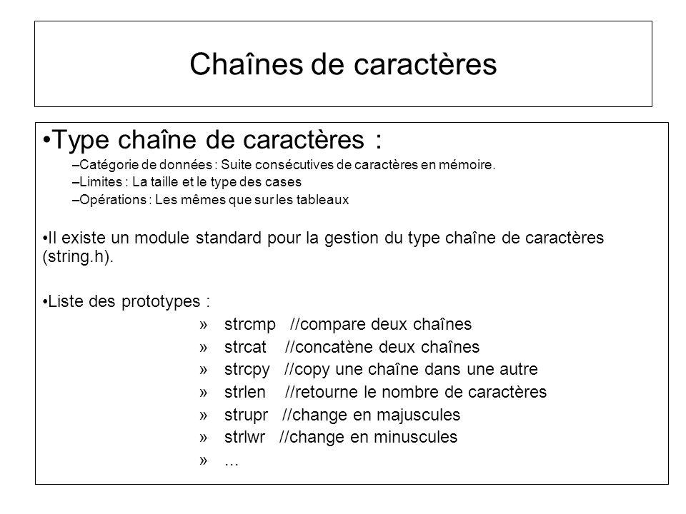 Chaînes de caractères Type chaîne de caractères :