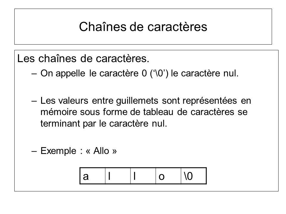 Chaînes de caractères Les chaînes de caractères. a l o \0