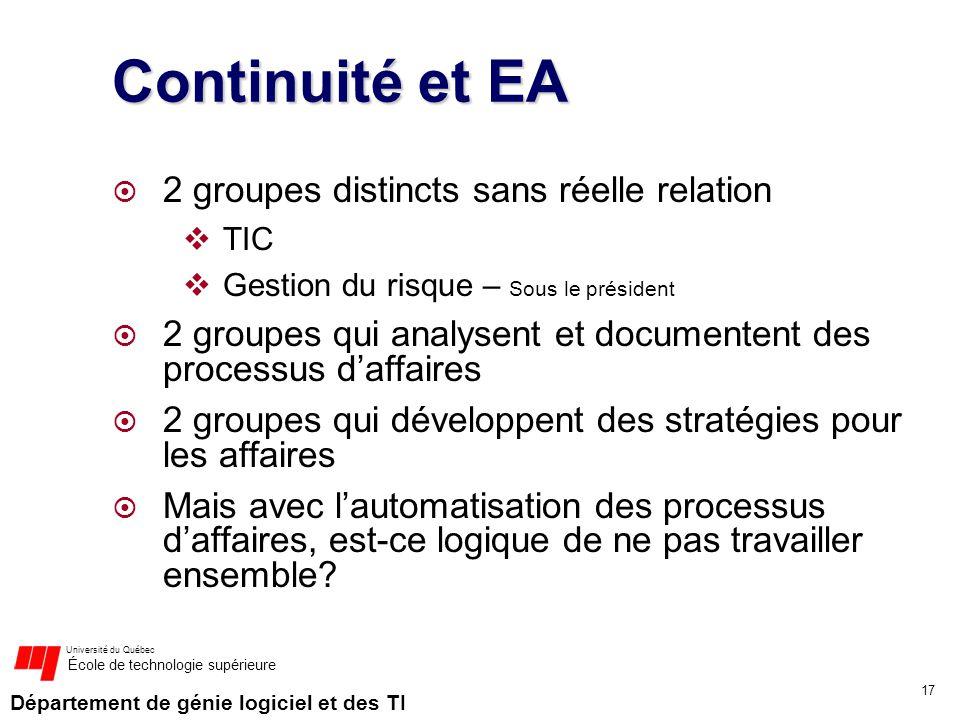 Continuité et EA 2 groupes distincts sans réelle relation