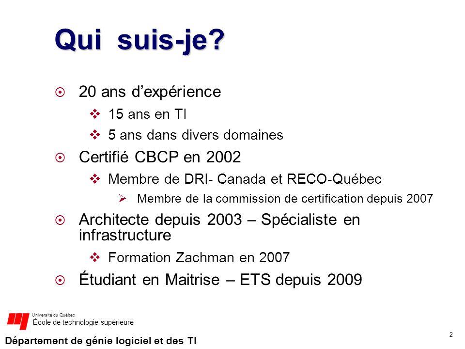 Qui suis-je 20 ans d'expérience Certifié CBCP en 2002