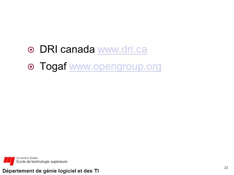 DRI canada www.dri.ca Togaf www.opengroup.org