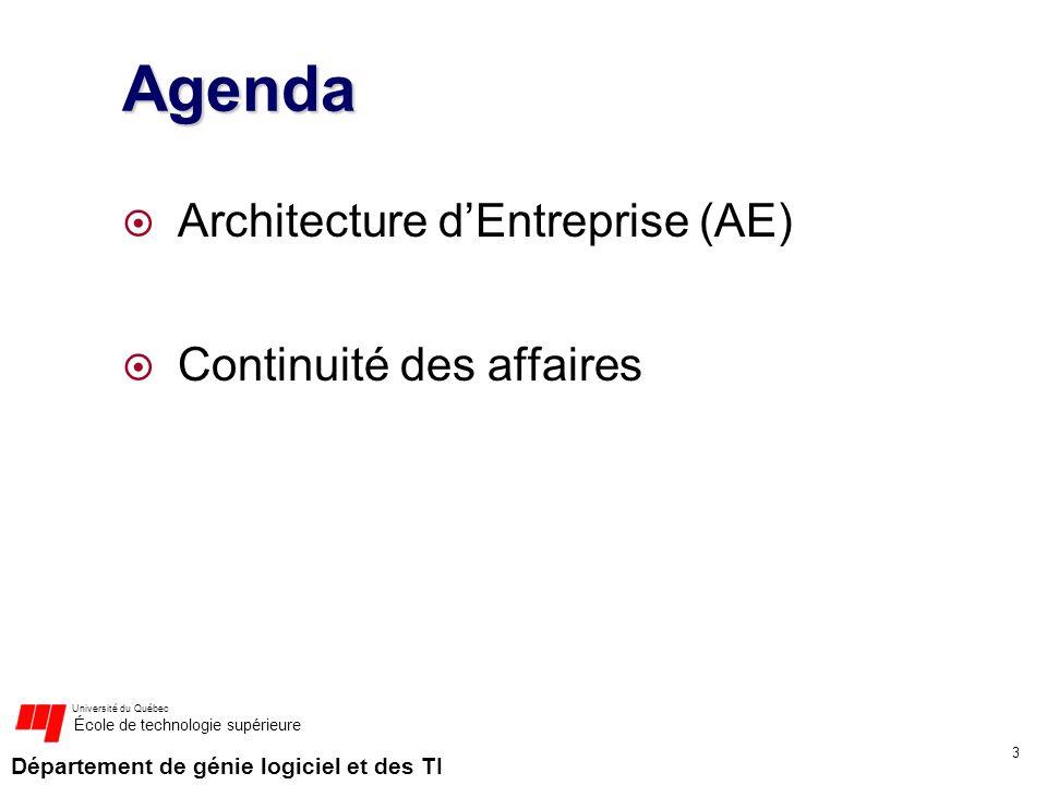 Agenda Architecture d'Entreprise (AE) Continuité des affaires