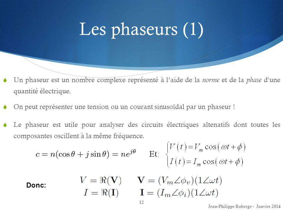 Les phaseurs (1) Un phaseur est un nombre complexe représenté à l'aide de la norme et de la phase d'une quantité électrique.