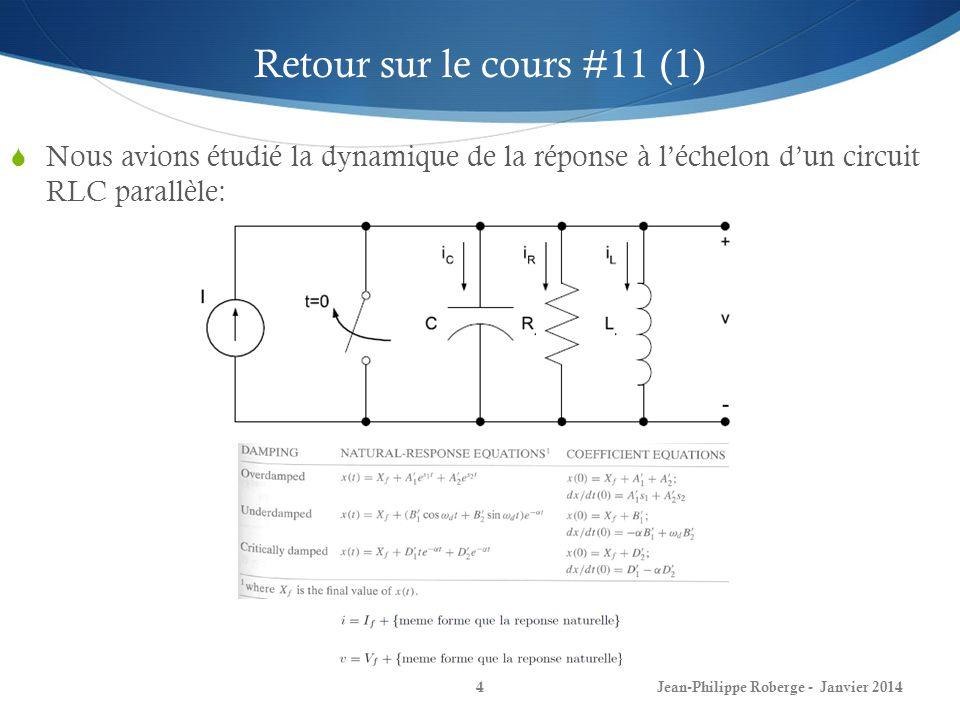 Retour sur le cours #11 (1) Nous avions étudié la dynamique de la réponse à l'échelon d'un circuit RLC parallèle: