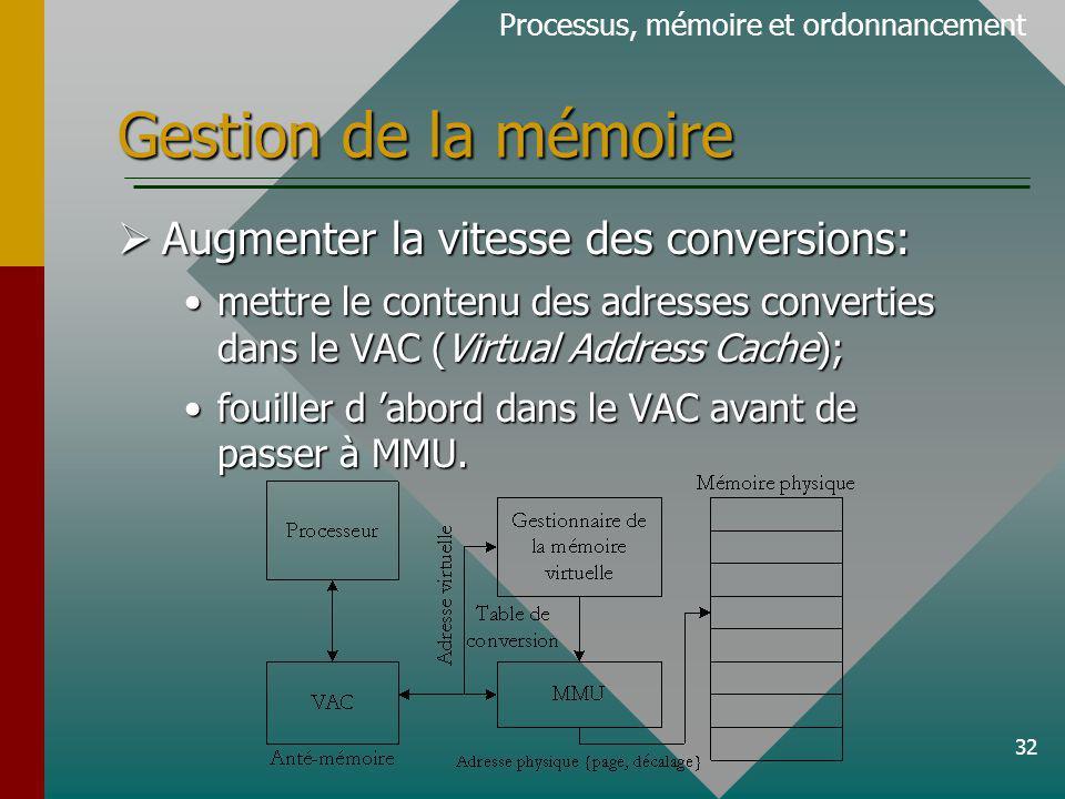 Gestion de la mémoire Augmenter la vitesse des conversions: