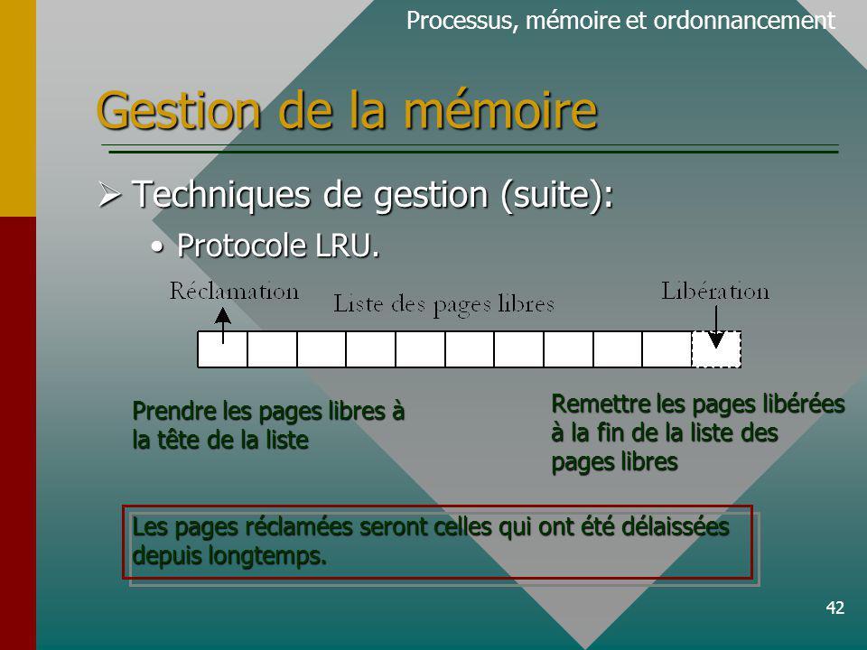 Gestion de la mémoire Techniques de gestion (suite): Protocole LRU.