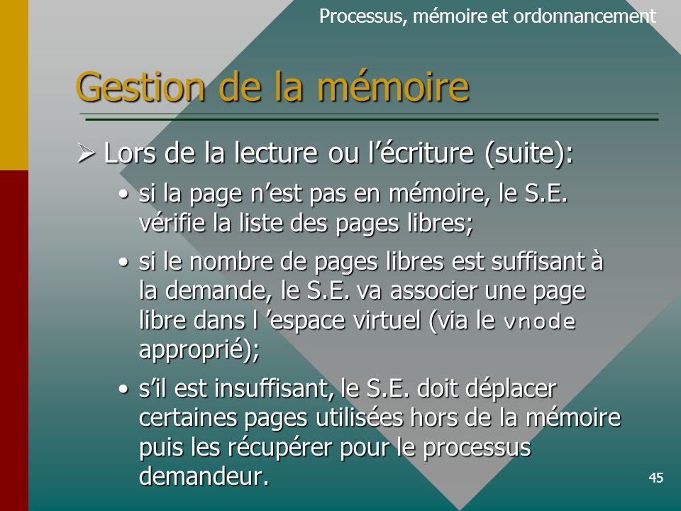 Gestion de la mémoire Lors de la lecture ou l'écriture (suite):