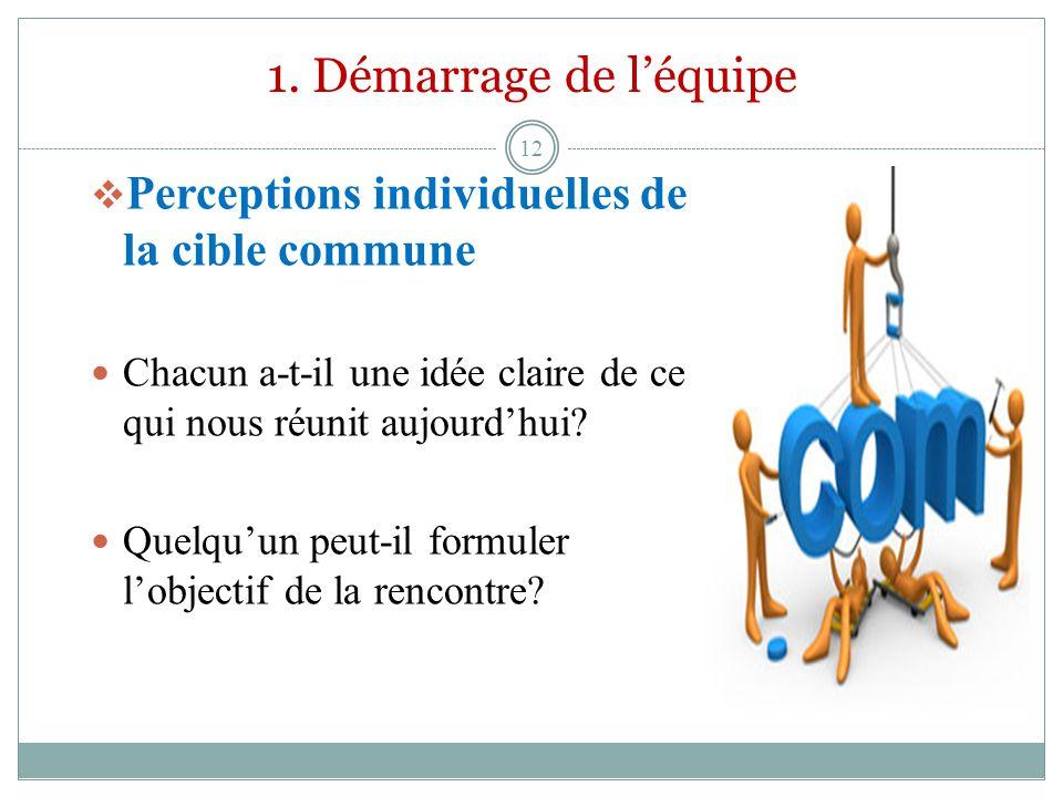 1. Démarrage de l'équipe Perceptions individuelles de la cible commune