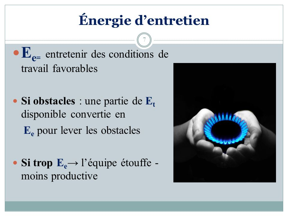 Ee= entretenir des conditions de travail favorables