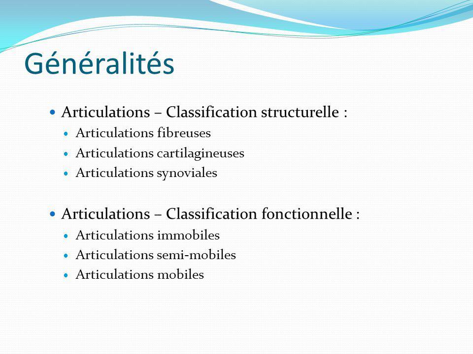 Généralités Articulations – Classification structurelle :