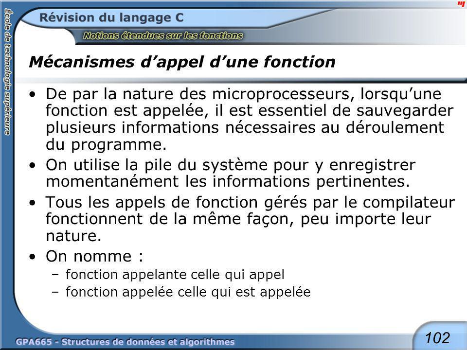 Mécanismes d'appel d'une fonction