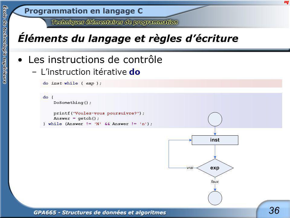 Éléments du langage et règles d'écriture