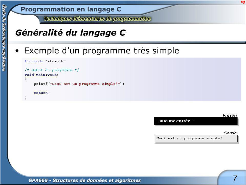 Généralité du langage C