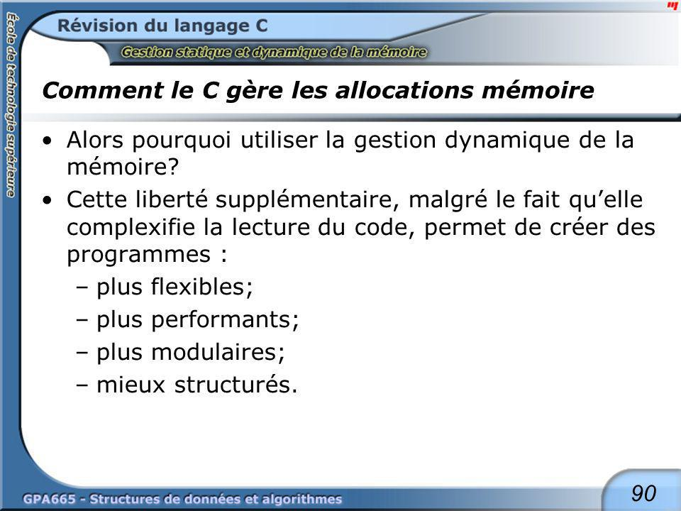 Comment le C gère les allocations mémoire